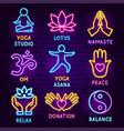 yoga neon label set vector image