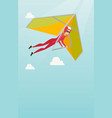 young caucasian woman flying on hang-glider vector image vector image