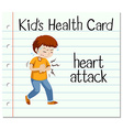 Health card with man having heart attack vector image