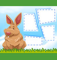 a bunny on note template vector image vector image