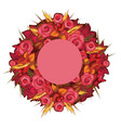 autumn wreath with red roses and ears wheat vector image