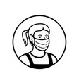 caucasian teenage girl wearing face mask front vector image vector image