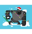 Christmas gorilla character vector image vector image