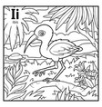 coloring book colorless alphabet letter i ibis vector image vector image