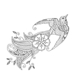 contour image bird flying with long ornamental vector image