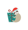 cute sloth with gift box christmas or new year vector image vector image