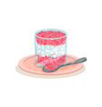 delicious sago pudding in glass and spoon tasty vector image vector image