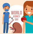 doctor surgeon and girl with apple kidney world vector image vector image