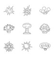 explosion effect icons set outline style vector image vector image