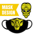 fabric face mask design with alien print vector image