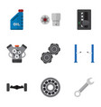 flat icon workshop set of motor turnscrew petrol vector image vector image