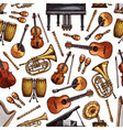 folk music instruments sketch seamless pattern vector image