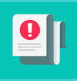 fraud or failure alert message on document vector image vector image