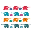 Funny graphic elephants herd collection