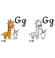 giraffe alphabet letter g coloring page vector image vector image