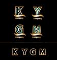 Gold golden letter logo icon set vector image vector image