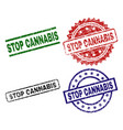 grunge textured stop cannabis seal stamps vector image vector image