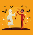 halloween card with ghost disguise and devil vector image vector image