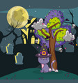 halloween cat and haunted house vector image vector image