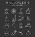 halloween line icons set vector image
