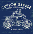 hand drawing style skull ride a motorcycle vector image vector image