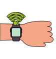 hand with smartwatch nfc technology concept modern vector image vector image