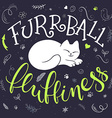 handwritten phrase - furrball of fluffiness with vector image vector image
