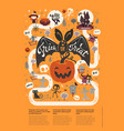happy halloween flyer template in a flat style vector image