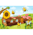 honey bees and wooden house vector image vector image