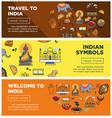 india travel landmarks and symbols banners vector image vector image