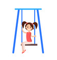 little girl with ponytails sits on blue swing vector image