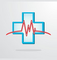 medical cross with heart rhythm vector image vector image