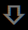 mobilevhs glitch down arrow in retro style vector image vector image