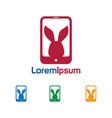 phone rabbit logo vector image