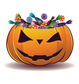 Pumpkin with candy vector image