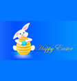 rabbit holding egg with mask happy easter spring vector image vector image