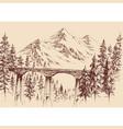 railway bridge in mountain landscape hand drawing vector image
