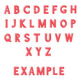red font alphabet letters hand drawn doodle vector image