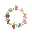 round frame with flat decorative cups tea vector image vector image