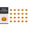 scary pumpkin icons flat design for presentation vector image