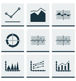 set of graphs diagrams and statistics icons vector image