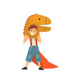 smiling boy in dinosaur costume kid dressed for vector image vector image