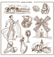 spain travel symbols and sketch landmarks vector image