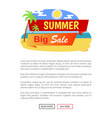 summer big sale label poster with tropical beach vector image vector image