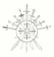 swords cross crosswise and shields drawn in ink vector image