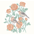 vintage card with roses and birds vector image vector image