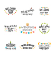 Welcome baby boy Baby boy arrival postcards Set of vector image vector image