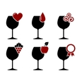 wine glass set with grape heart and drop vector image vector image