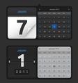 Black Calendar Set vector image