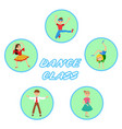 children dancing round icons set vector image